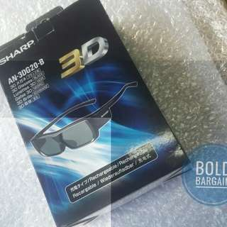 Authentic SHARP AN-3DG20-B 3D Glasses Rechargeable