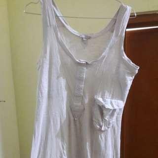 Preloved Mini Dress Fit to L Mat Katun Tebel Warna Putih