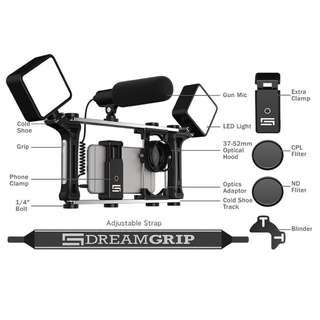 youtuber必備-Dreamgrip 手機電影全功能套件-全配豪華版 (含閃光燈、指向性麥克風)