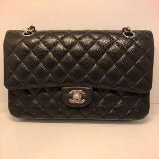 正品 85%新 Chanel 黑色25cm 荔枝皮銀扣雙鍊袋