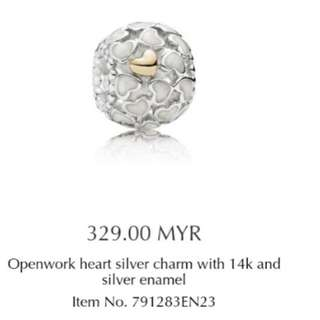 Authentic pandora charm with 14k gold