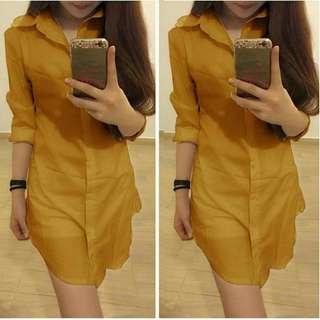 Midi Dress Kemeja Panjang Polos Kuning