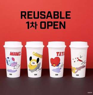 韓國bts bt21 環保杯 reusable cup 簽名
