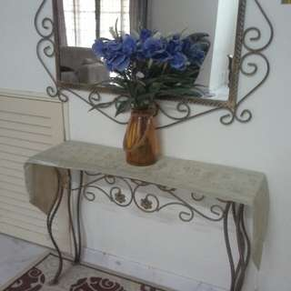 Wrought iron console table n mirror