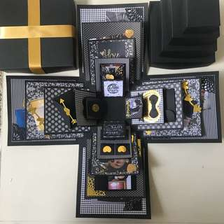 Custom black and gold Explosion Box 6 Layers with individual cover