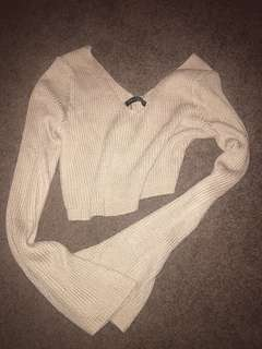 Beige cropped knit jumper