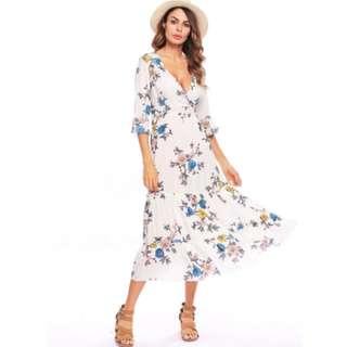 [PO] Boho Long Flounce Wrap Dress (38)