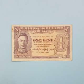 1 Cent Ringgit Malaysia Banknotes [1941]