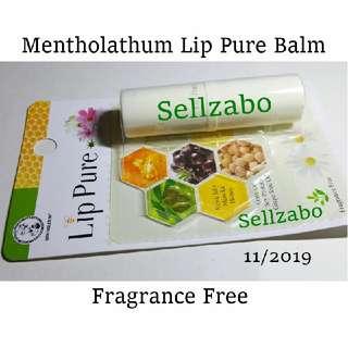 Fragrance Free Lip Balm Mentholatum Lips Pure Treatment Care Skincare Beeswax Royal Jelly Manuka Honey