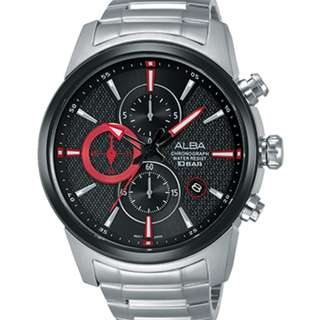 Alba AM3449X1 Men Chronograph Jam Tangan Pria AM3449 AM3449X Black Red Dial