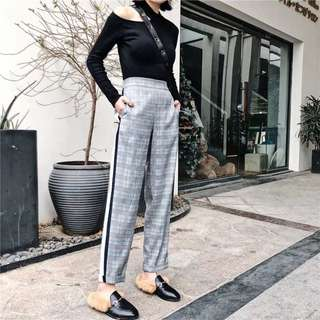 INSTOCKS Checkered high waisted trousers contrast side long pants