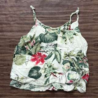 Vintage Thrift Tropical Floral Braided Top