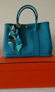 Hermes Garden Party 36cm Turquoise with Twilly