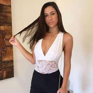 Women's white lace bodysuit