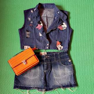Jaket denim trendy minnie mouse fit L kcl
