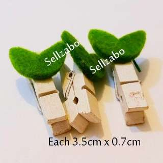 3 Mini Wooden Pegs Clips Sellzabo Cute Stationery