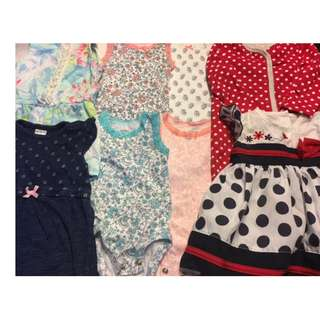 Baby girl rompers and dresses (Newborn to 3 months)