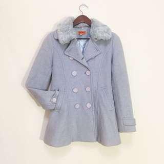 🚚 中長版雙排釦水藍大衣