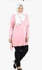 Myuna hi-lo blouse - 6xl in Sweet Pink color