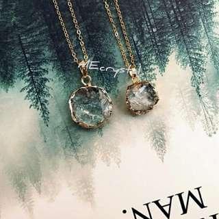 冰裂白水晶鍍金頸鍊