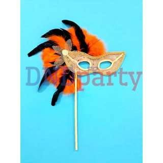 Orange Masquerade Mask w/Stick