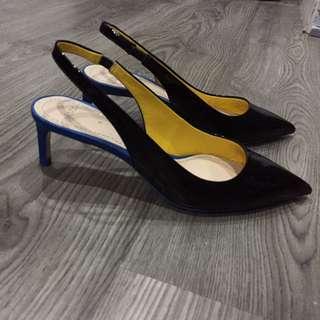 Glossy Black Leather Slingback w Kitten heel