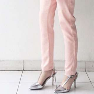Metallic silver t-bar ankle strap heels