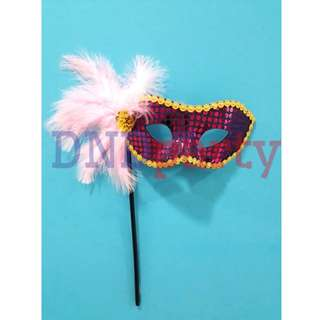 Purple Masquerade Mask w/Stick