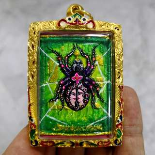 Spider Amulet Made From Herbal Powder Kruba Krissana Yants And Blessings Very Nice Amulet With UV Paint. BE 2558 With Free Micron Gold Casing Worth > $30. VERY GOOD PRICE!