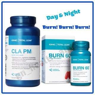 注目商品 睡眠燒脂 GNC Total Lean CLA PM 晚間配方 / BURN 60 日間配方 減肥 新陳代謝 全日燃脂