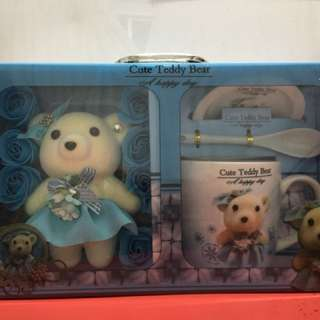 Cute cup and bear in gift box