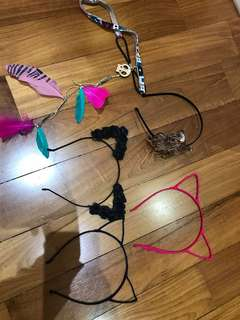 Cat head bands and feather headbands