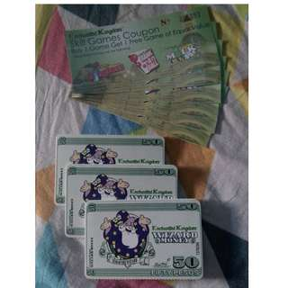 Enchanted Kingdom Wizard Money worth 900 with 6pcs skill games coupon. 550php na lang po