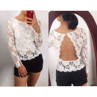 BEBE Backless Lace Top