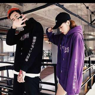 couple hoodie   size : M , L , XL , XXL colour : black , violet  price : male / female - RM44 for one pcs ( postage : RM8 ) couple - RM67 for one set ( 2pcs ) free postage