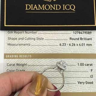 💎DiamondICQ📣 最受歡迎Halo款卡裝鑽石戒指👌現貨 😁GIA證書 1.00卡 F色 I2 3VG😍 25000唔使 啱帶可以即刻拎走👌