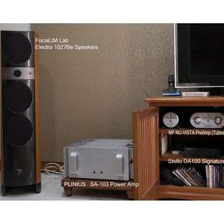 Audiophile System - Focal/JM Lab Electra 1027Be Speakers, Plinius SA-103 Power AMP, MF Nu Vista (Tubes) PreAmp, Stello DA100 Signature DAC For Sale