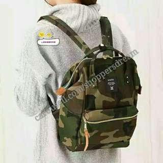 Instock 💯 Authentic Anello Camo Green Canvas Backpack