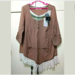 WA427 KBB Korean Tan Blouse (XL)
