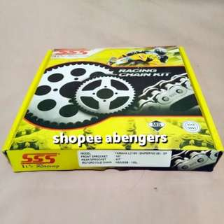SSS Sprocket and Chain 14-43 Nickel/Silver Steel for Yamaha Sniper 150