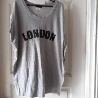 London Grey Sleeveless Cotton Tee