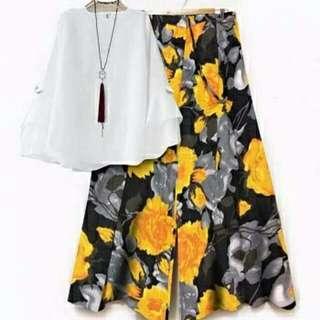 Ec JOCELIN KUNING ATASAN PUTIH l atasan baju blouse celana bunga kulot celana cullot setelan wanita
