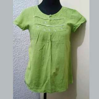 WA427 Olive Green Organic Cotton Blouse - Medium