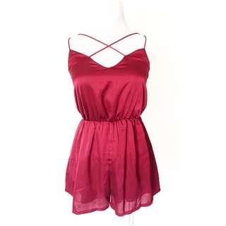 Burgundy Silk Jumpsuit