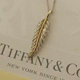 Excellent Vintage Rare Authentic Tiffany & Co. Leaf Gold x Silver Necklace