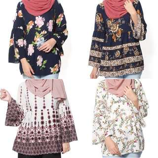 BN Printed Babydoll Blouse Instock