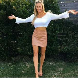 Women's peach leather mini skirt - sizes 6, 8, 10 & 12 AUS