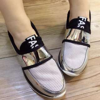 korean metallic rubber shoes