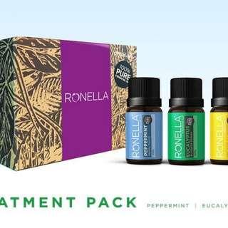 Ronella Treatment Pack Essential Oils Aromatherapy (Lemon, Eucalyptus, Peppermint)