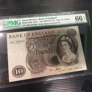 Bank of England 1966-70 Ten Pound PMG Jumbled ladder